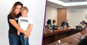 Silke Luzbik abrazando a su hijo y foto de junta en la Conadis.