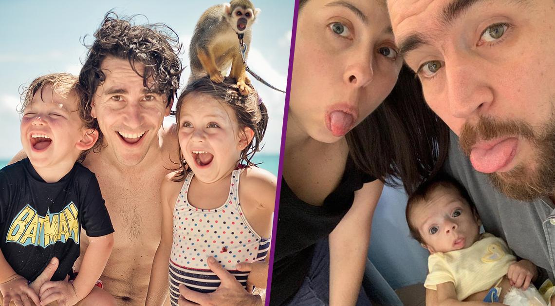 Dos fotos: Sopitas y su familiar abrazando a su bebé y foto de Gerardo abrazando sus dos hijos felices en la playa.