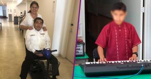 Dos fotos: Barbosa en silla de ruedas con su esposa Charito detrás y un niño tocando teclado.