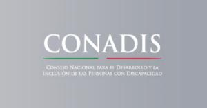 Logo CONADIS sobre fondo gris