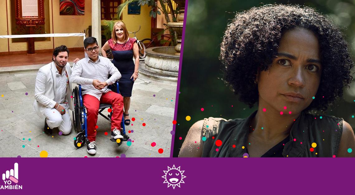 Fotografía de dos artistas con una persona con discapacidad en silla de ruedas y una fotografía de la actriz sorda