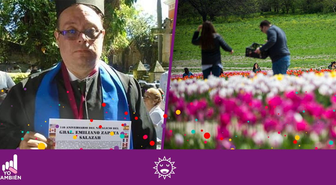 Fotografía de una persona con pcd y un campo de tulipanes