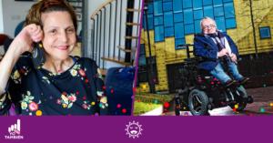 Fotografía de la mujer colombiana con pcd electa en Londres y fotografía de Rick Brick en su silla de ruedas