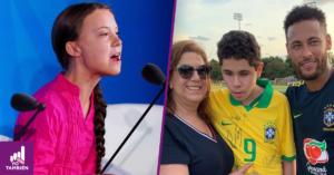 Fotografia de Greta con una blusa rosa una trenza en el cabello sobre su hombro izquierdo hablando en la onu y una foto de nicolas abrazando a su mama Greta y al jugador de futbol neymar afuera de la cancha de entrenamiento de la seleccion brasileña de futbol