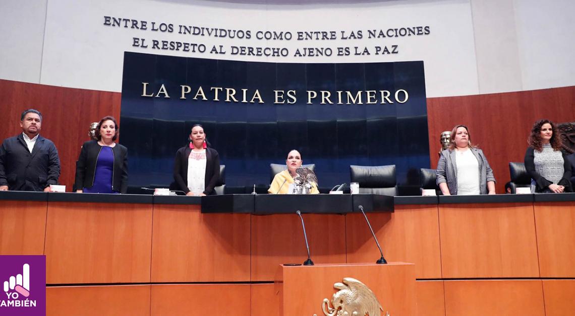 Fotografía de la comparecencia de la secretaria de Bienestar, María Luisa Albores, ante el Pleno del Senado de la República
