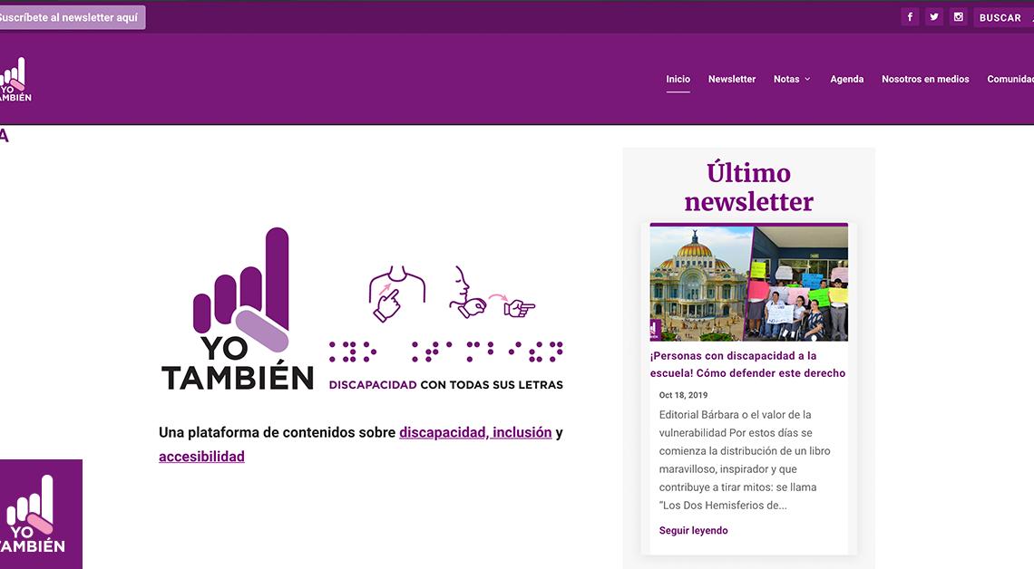 Fotografía del sitio de Yo También donde podemos ver el logo, el menú del sitio y la sección del último newsletter