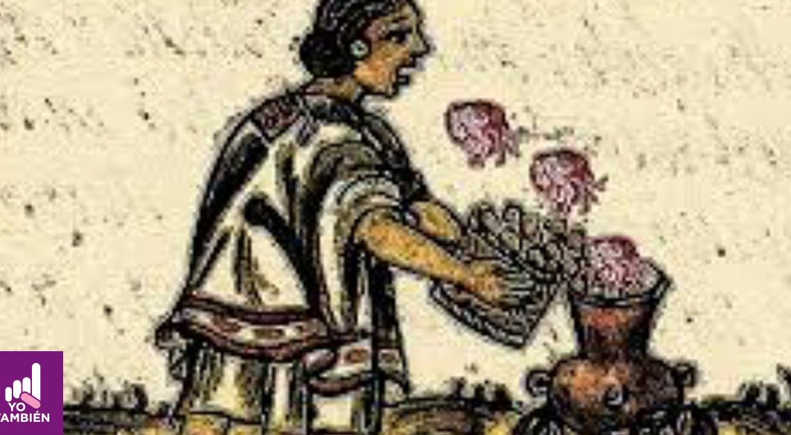 Imagen prehispanica de una persona con un cesto y unos pescados saltando