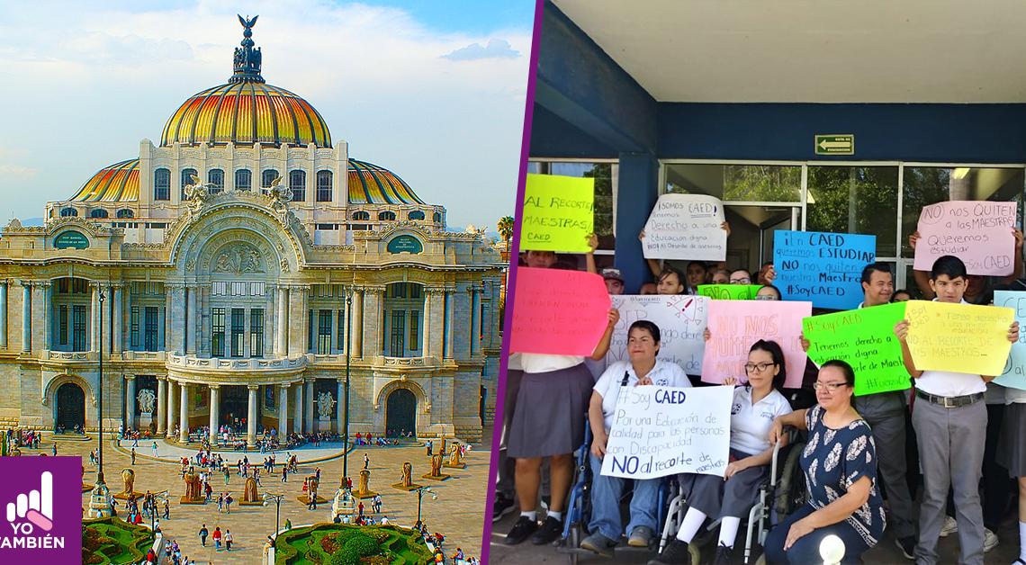 Fotografía del palacio de bellas artes y una fotografía de los alumnos de CAED con pancartas reclamando el estado en el que se encuentran