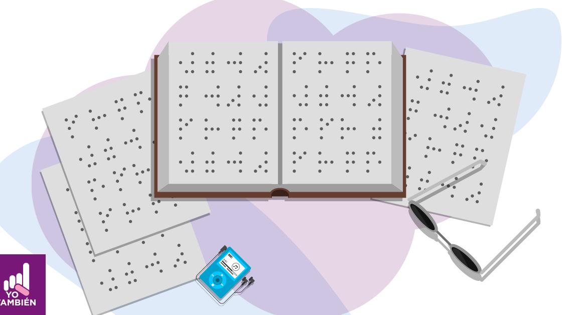 Dibujo de un cuaderno con diferentes marcas en braille, junto al cuaderno hay unos lentes obscuros y una pequeña grabadora