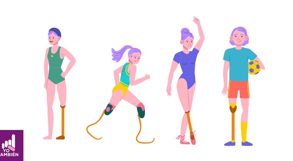 Dibujo de 4 deportistas paralímpicos, de izquierda a derecha, el primero es un nadador, la segunda es corredora, la tercera bailarina y el cuarto un jugador de futbol