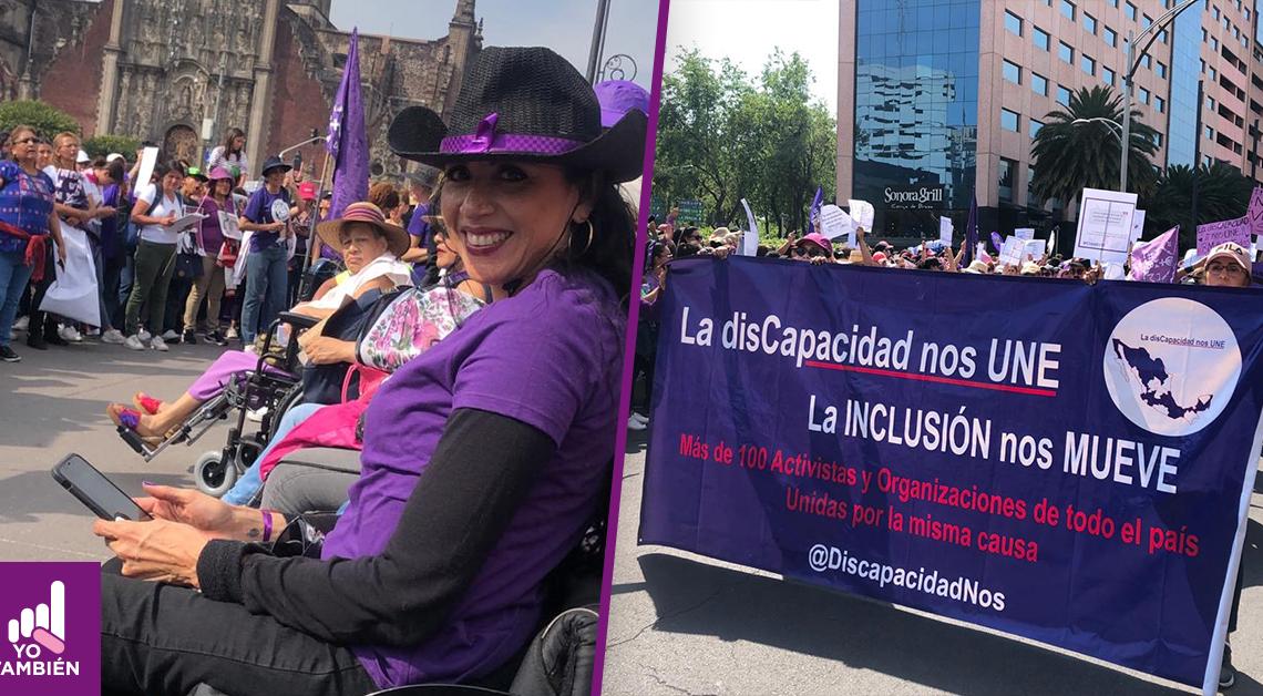 Fotografías de la marcha de las mujeres del 8 de marzo, en la primera podemos ver a una mujer en silla de ruedas viendo hacia la cámara sonriendo, detras de ella un contigente de mujeres. la segunda es de una manta que dice, la discapacidad nos une la inclusion nos mueve, mas de cien activistas y organizaciones de todo el pais unidas por la misma causa