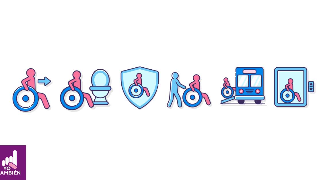 Dibujo de una persona en silla de ruedas en diferentes acciones, de izquierda a derecha, el primero esta avanzando hacia la derecha, el segundo está frente a un baño el tercero esta dentro de un escudo el 4 una persona está empujando la silla de ruedas en el quito se está subiendo a un camión y el sexto setá en un elevador, todo esto contandonos una historia de los contactos que puede tener una persona en silla de ruedas