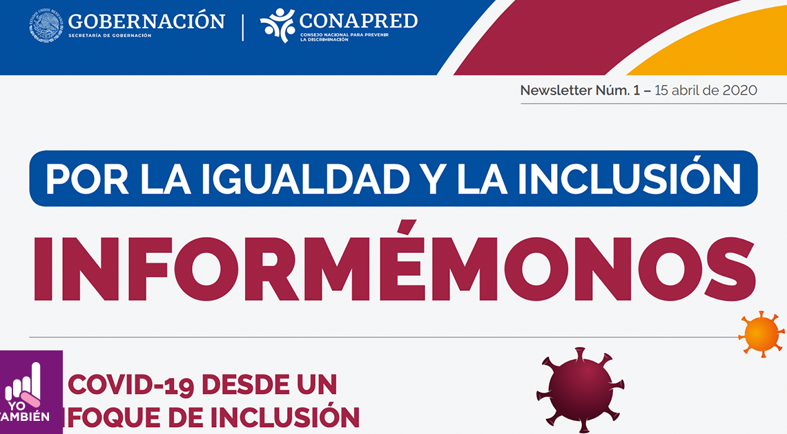 Fotografía del newsletter de conapred donde alcanzamos a ver el título que dice por la igualdad y la inclusión informemonos