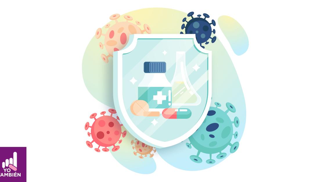 dibujo de un escudo con medicinas dentro de el y detrás 5 esferas con haciendo referencia al virus