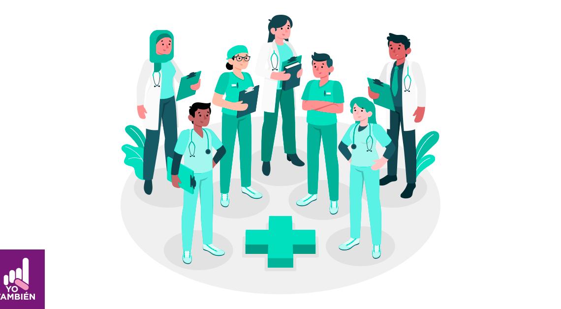 Dibujo de 7 medicos al rededor de una cruz, todos visten sus trajes de doctor y tienen en sus manos diferentes cuadernos y libros