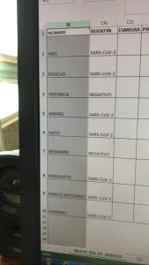 Fotografía de una pantalla de computadora con una tabla donde se alcanzan a ver nombres de personas y si tienen o no covid.