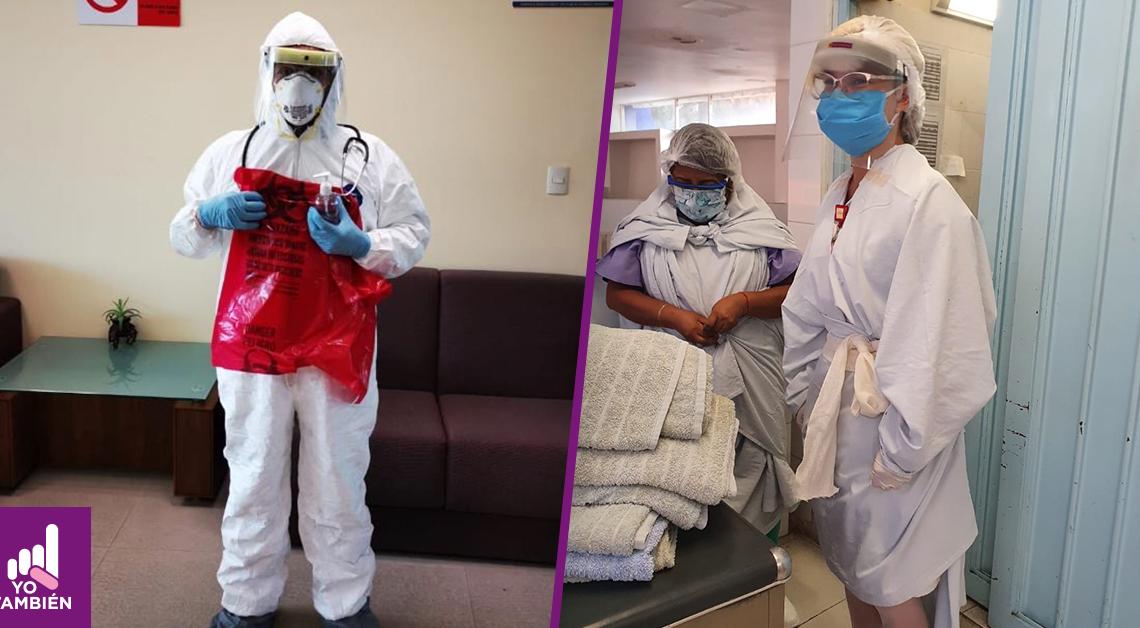 Fotografía de del director con su traje de protección personal completo y Fotografía enfermeras con batas improvisadas y