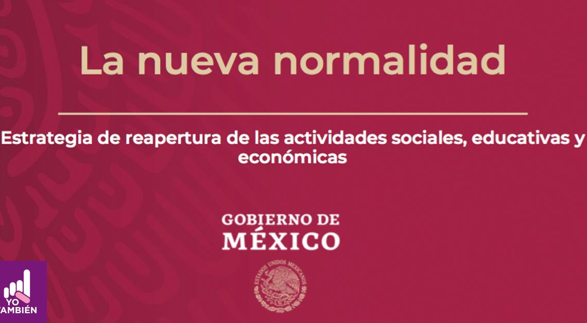 Fotografía con el título La nueva normalidad debajo tiene el texto gobierno de méxico junto al escudo nacional