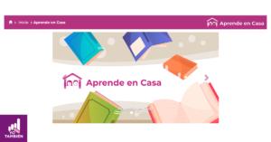 Fotografía de sitio aprende en casa, en la que podemos ver la barra de navegación y una imagen con el logo de aprende en casa