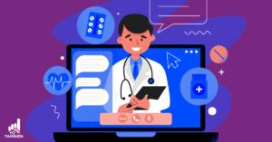 Dibujo de una computadora con un programa de llamadas activo donde está un doctor en la pantalla, junto a el dibujos de medicinas y un chat