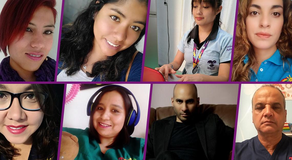Fotografia con los rostros deMaile, José, Abigail, Alejandra, Ana Gaby, Andrea y Christian