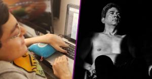 Fotografía del rostro de Carlos Lopez frente a su computadora, alcanzamos a ver su mano sobre la computadora y podemos appreciar parte del teclado y la pantalla. Fotografía en blanco y negro de un hombre en silla de ruedas, en donde se alcanza a ver parte de su pecho y su cara, tiene la mirada fija