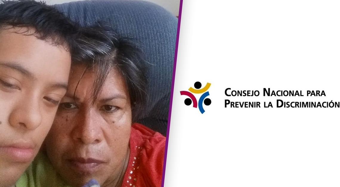 Fotografía de los rostros de una mujer y su hijo con síndrome de down más el logo de conapred