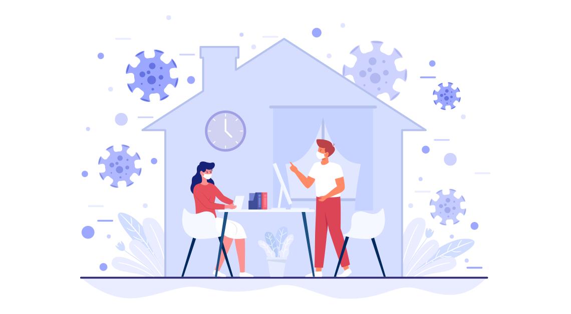 Dibujo de una pareja dentro de una casa rodeada por el virus covid 19