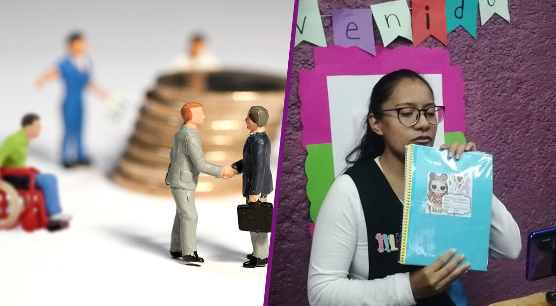 Fotografía de unos muñequitos dandose la mano con unas monedas de 10 pesos en el fondo. Fotografía de una maestra para frente a un telefono dando su clase. Sostiene un cuaderno en las manos.