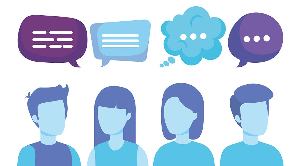 Ilustración de cuatro personas, dos hombres y dos mujeres con burbujas de conversación sobre de ellos.