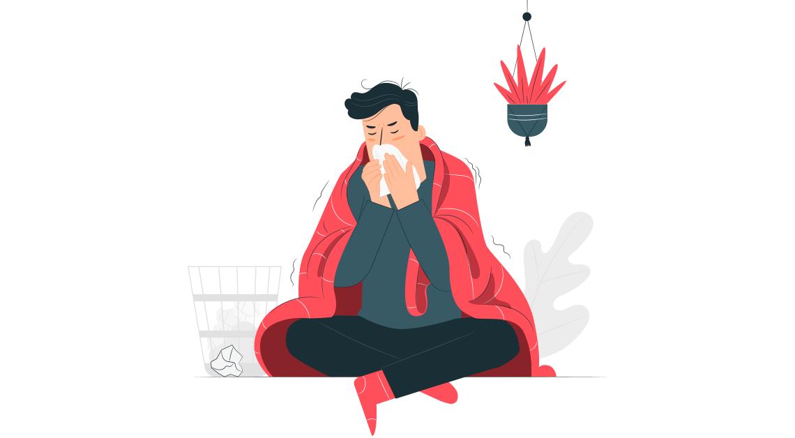Imagen ilustrativa de un hombre en pijama con una cobija sobre de el, enfermo de influeza.