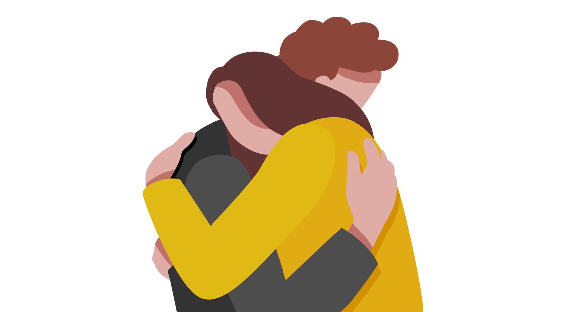Ilustración de dos personas abrazandose.