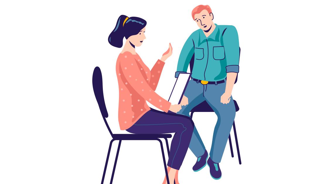 Ilustración de dos personas sentadas platicando.