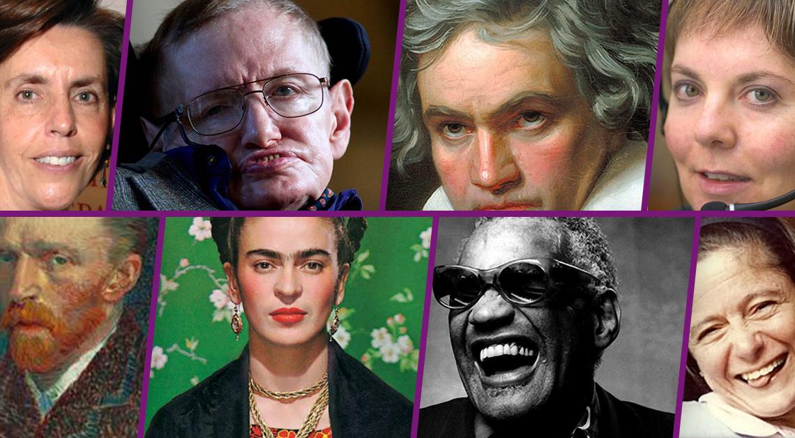 Fotografía con los rostros de Gaby Brimmer, Frida Kahlo, Stephen Hawking, Carmelina Ortiz Monasterio, Ray Charles, Ludwig Van Beethoven y Vincent van Gogh.