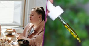 Fotografía de dos personas sentadas, a la izquierda una mujer con el cabello corto, lentes con el marco negro y una blusa rosa, a la derecha una mujer con sindrome de down con un saco color rosa. Sobre la mesa frente a ellas una computadora y platos de comida. Fotografía de un gotero con aceite de cannabis medicinal.