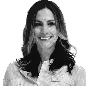 Ilustración del rostro de Christina sonriendo, tiene el cabello suelto.
