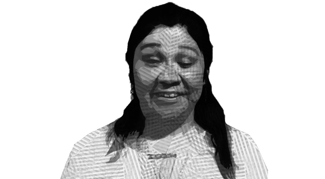 Ilustración del rostro de Hilda Laura, de frente, sonriendo.
