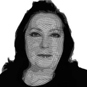 Ilustración del rostro de Debora sonriendo, viendo a la cámara.
