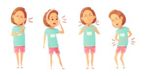 Ilustración de una mujer con fondo blanco en cuatro posturas distintas.