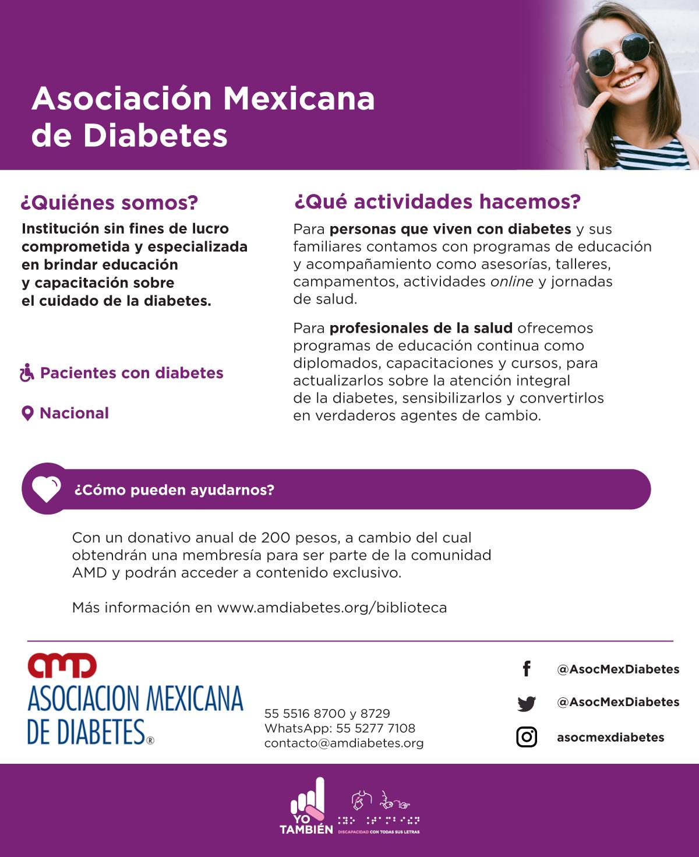 Asociación Mexicana de Diabetes es una Institución sin fines de lucro comprometida y especializada en brindar educación y capacitación sobre el cuidado de la diabetes.