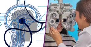 Dibujo de un cerebro y estetoscopio. Fotografía de una doctora de espaldas haciendo un examen de la vista a una mujer.