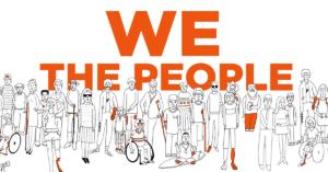 """Dibujo en blanco y negro de veintisiete personas con diferentes discapacidades, todos viendo al frente con un texto en ingles detrás de ellos que dice en español, """"nosotros las personas""""."""