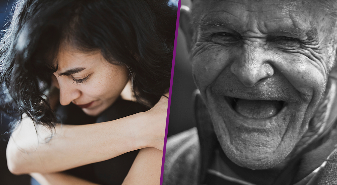 Fotografía de perfil del rostro de una mujer con sus brazos frente a su rostro y Fotografía en blanco y negro de un adulto mayor sonriendo.