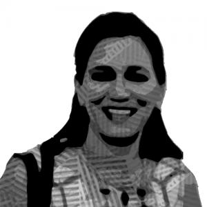 Caricatura del rostro de Alma Chávez sonriendo.