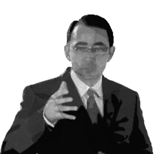 Ilustración del rostro del doctor Barragan con la mano al frente de su pecho.