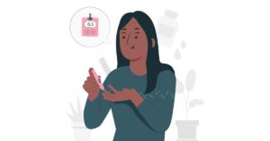 Dibujo de una mujer sosteniendo un glucometro