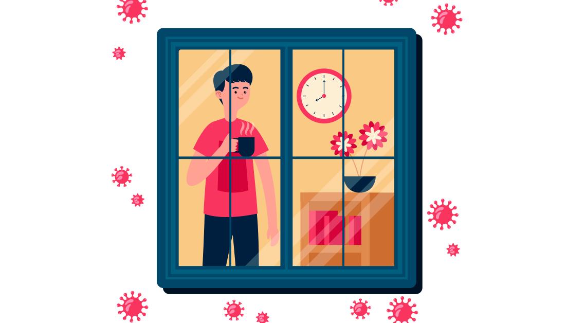 Dibujo de un hombre detrás de una ventana cerrada, con una tasa en la mano derecha, junto a él un reloj, una maceta con flores rojas y un plato.