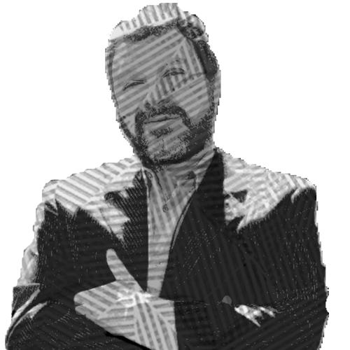 Ilustración del Diego con los brazos cruzados, esta viendo a la cámara, viste un saco y una camisa sin corbata