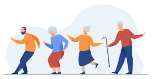 Ilustración de cuatro personas bailando.