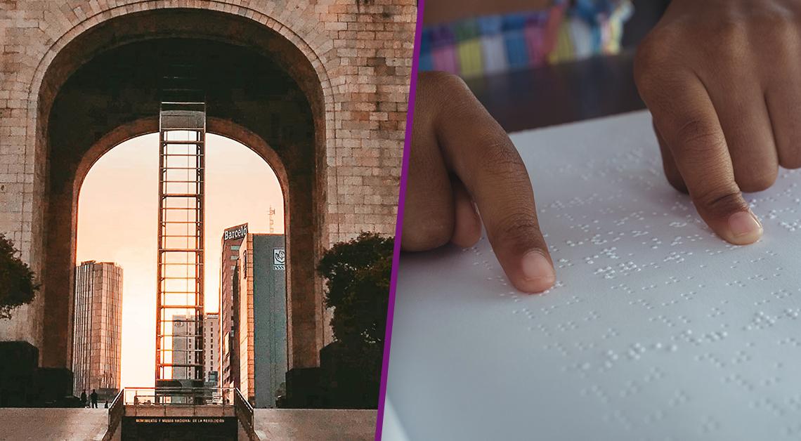 Fotografía de la base del monumento a la revolución con el amanecer detrás. Fotografía de unas manos sobre una hoja de papel leyendo en braille